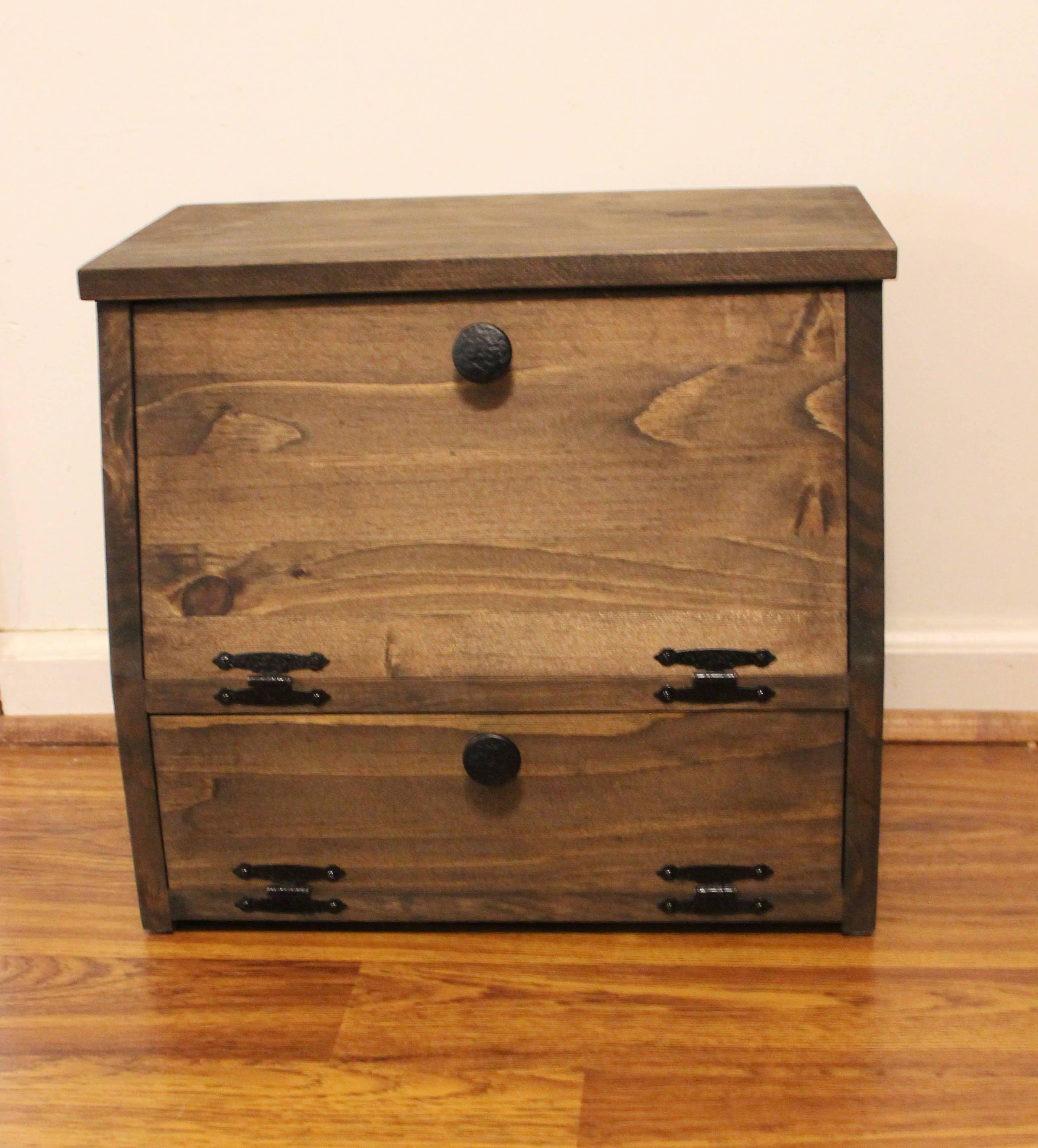 Wooden Bread Box Kitchen Storage Spices Wood Vegetable Potato Bin