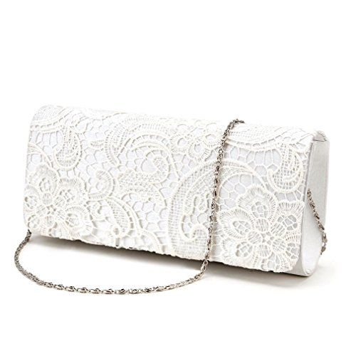 5bd054f476 POPLife Satin Lace Floral Evening Clutch Bag Wedding Bridal Handbag Purse  Ivory White -- Find out @