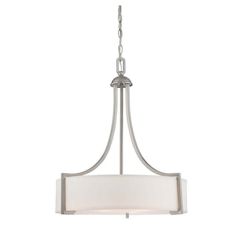 Terrell is a striking group from Savoy House with updated styling and bold geometric lines. The Satin Nickel finish gleams against the crisp White Shade creating fresh elegance for today's sophisticat