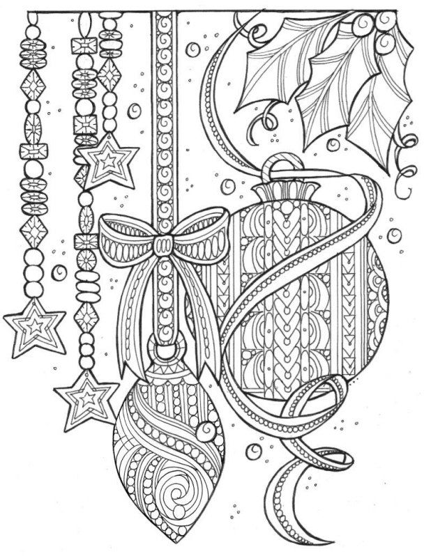 Color A Christmas Coloring Page Containing Everything But The Tree This Gorgeous Adult Features Ornaments Beaded Garland