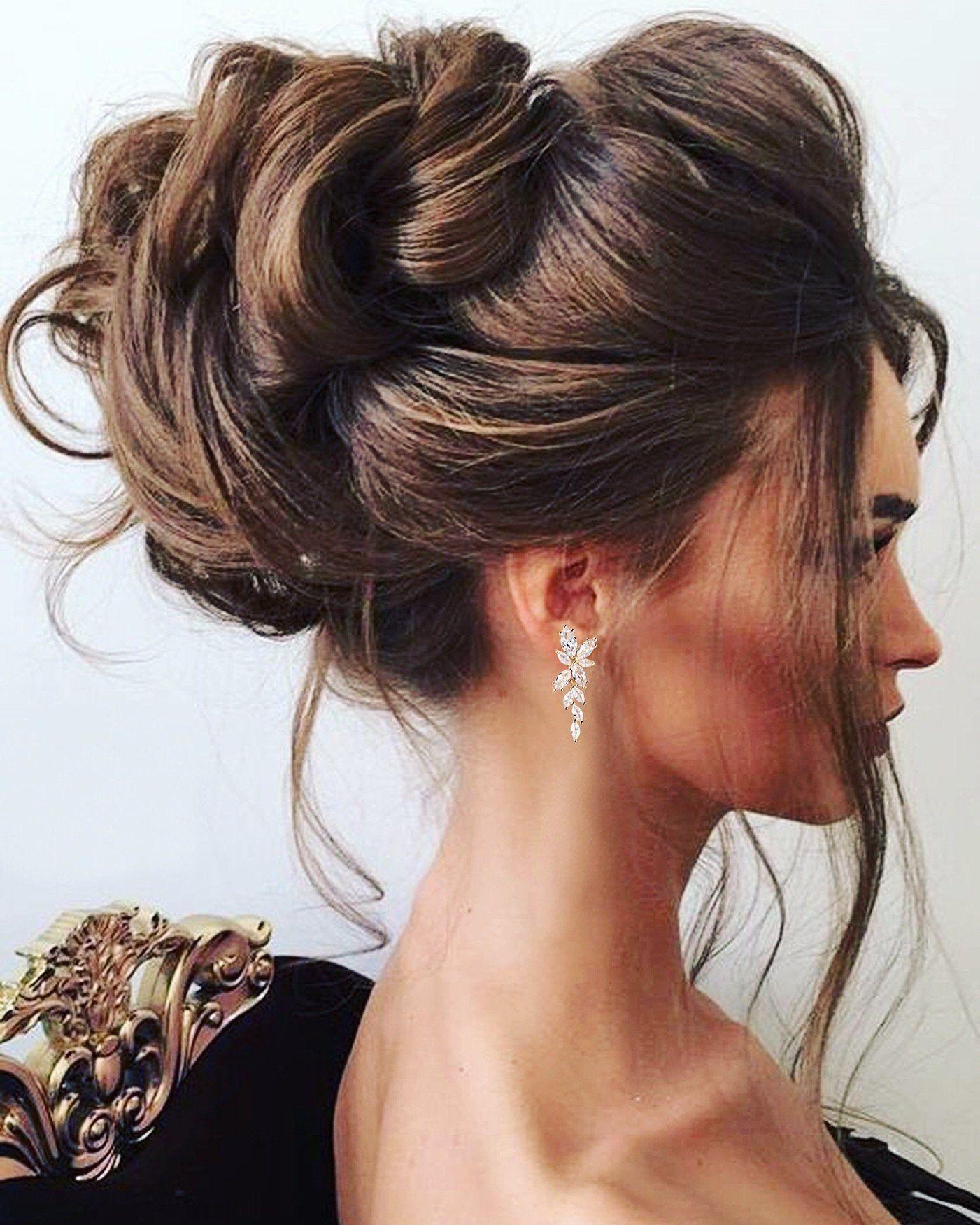 Crystal Bridal Earrings Drop Earrings Rose Gold Wedding   Etsy