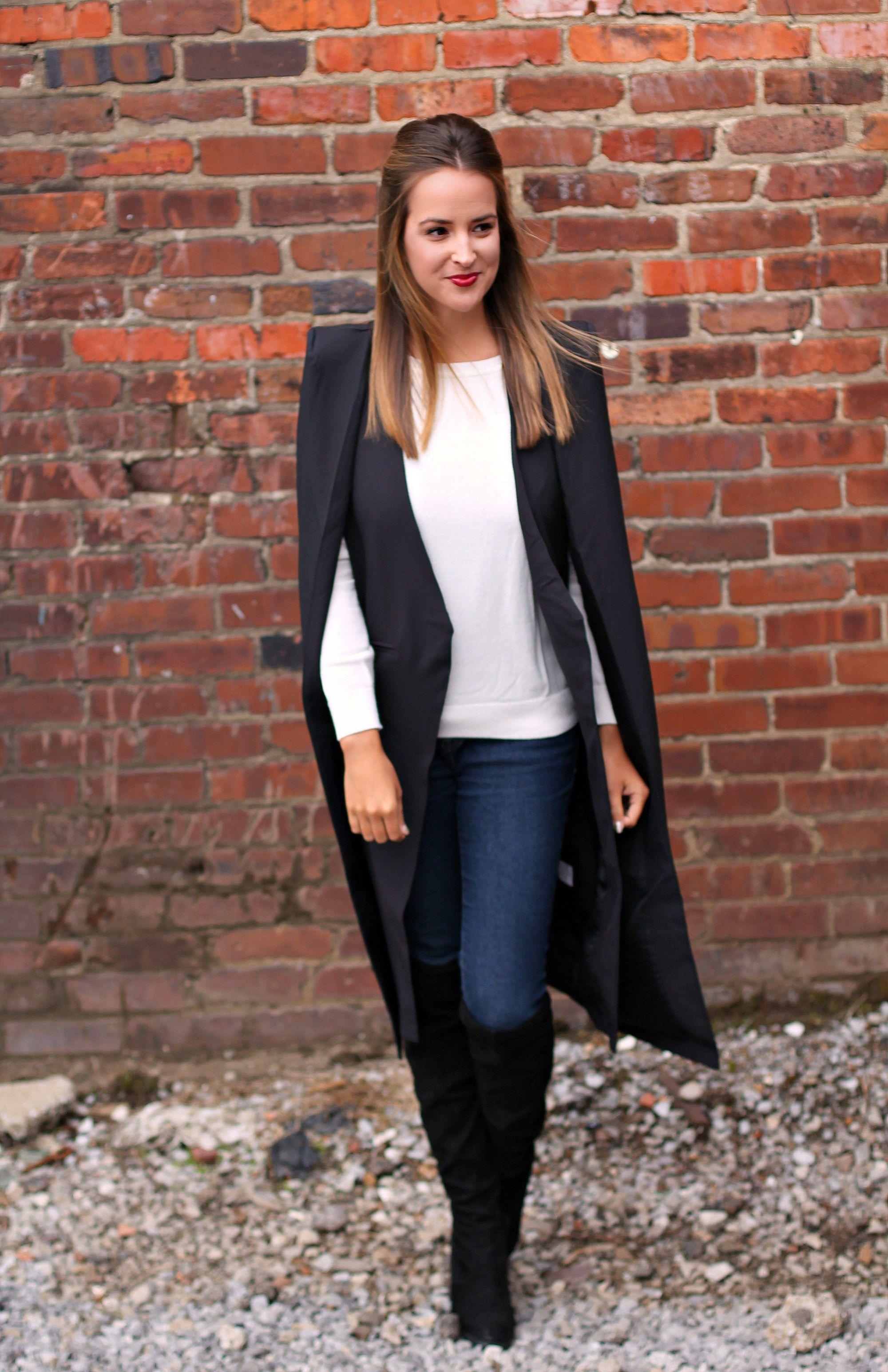 Black Longline Cape #lexwhatwear #nashvillestyle #nashvillefashion #nashvilleblogger #styleblog #fashionblog #outfitideas #outfitinspiration #winterstyle #winteroutfit #winterfashion #styleinspiration #styleideas