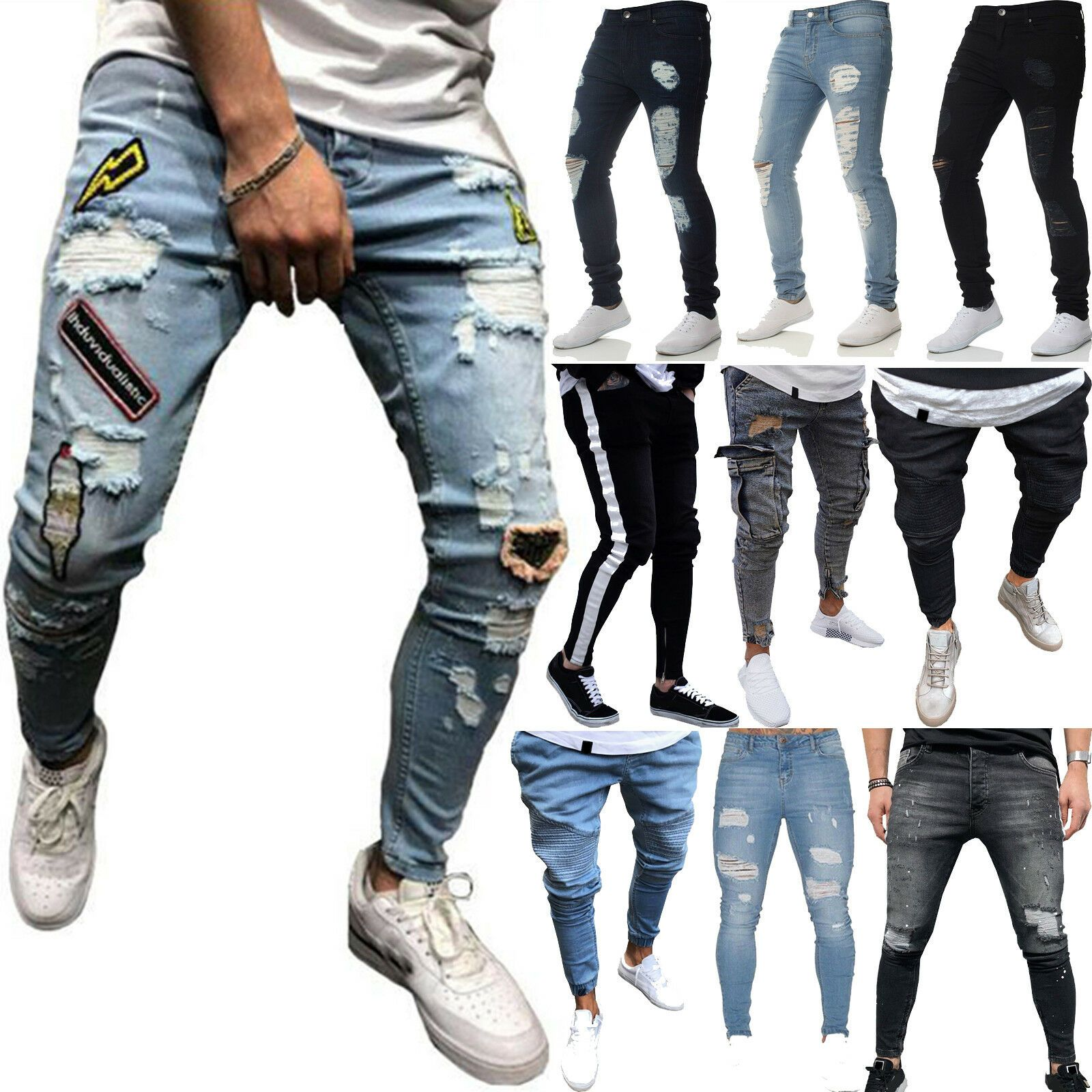 Men Skinny Casual Joggers Denim Jeans Slim Fit Jogging Long Pants Biker Trousers