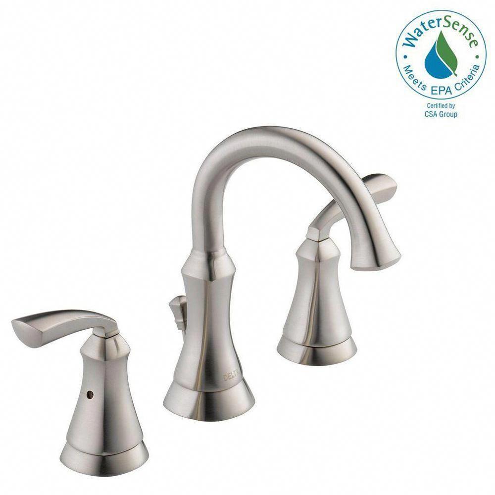 Delta Mandara 8 In Widespread 2 Handle Bathroom Faucet In Brushed Nickel 35962lf S Bathroom Faucets Brushed Nickel Bathroom Faucets Widespread Bathroom Faucet