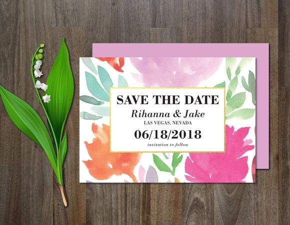 Save the Date watercolor flower. Watercolor Flowers. $6.00