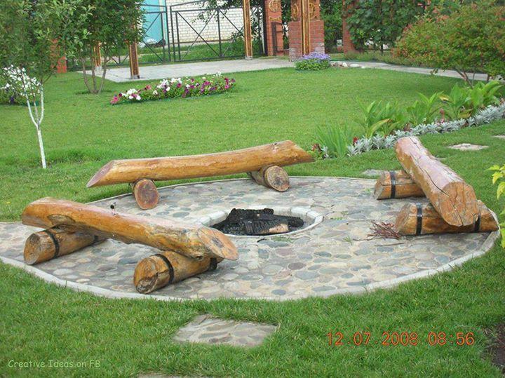 Diy Log Seating Around Fire Pit Backyards Outdoor Living