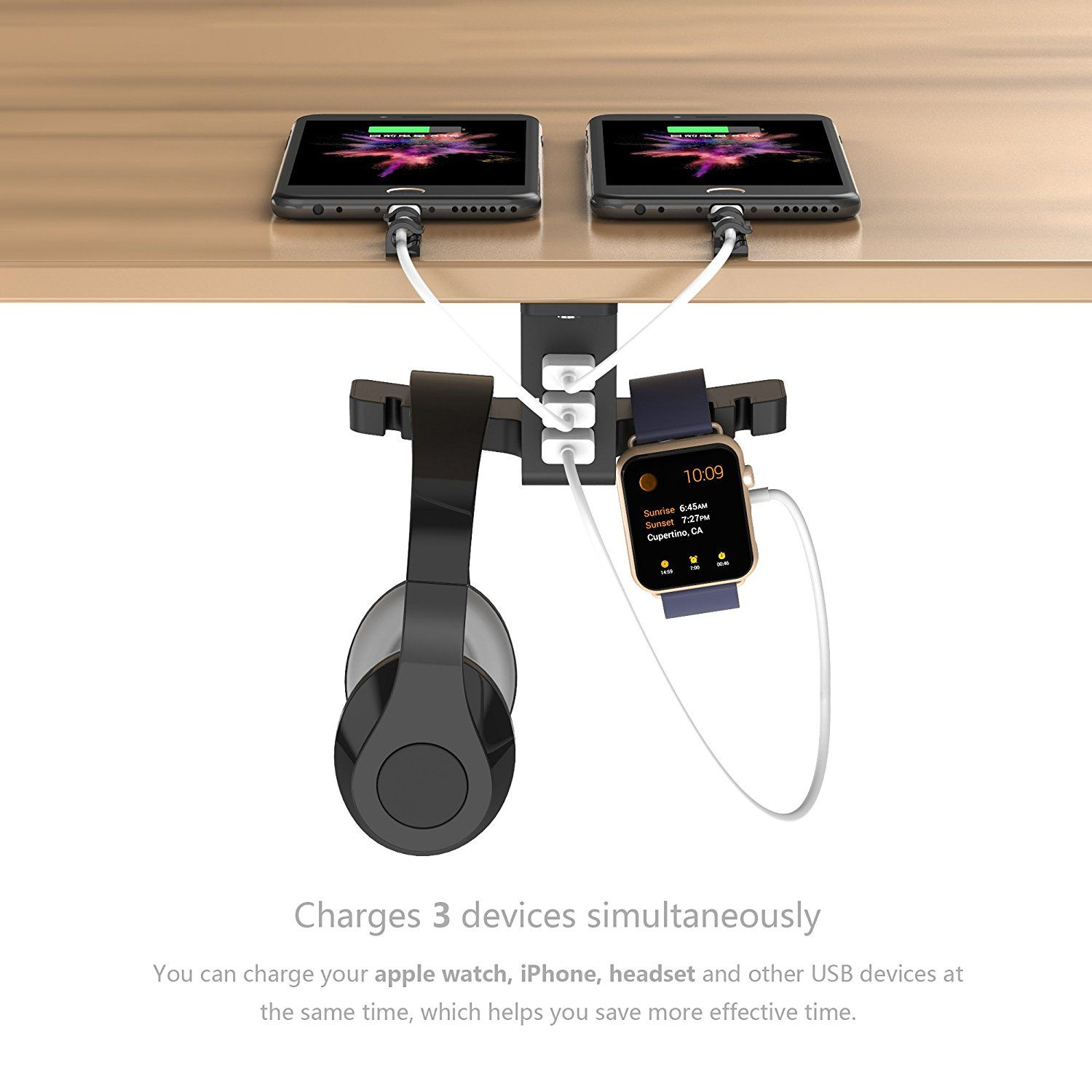 Amazon Com Headphone Stand With Usb Charger Cozoo Under Desk Headset Holder Mount With 3 Port Usb Chargin Headphone Stands Headset Holder Usb Charging Station