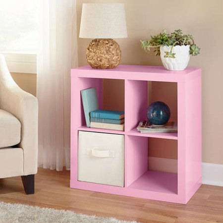 Better Homes Gardens Square 4 Cube Organizer Pink Walmart Com Cube Storage Home Decor Bookcase Storage