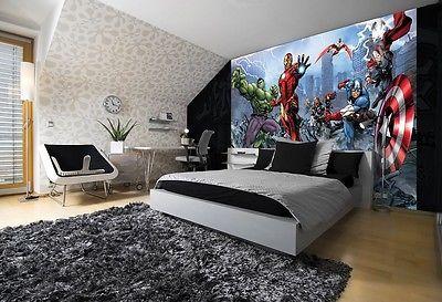 Giant paper wallpaper 368x254cm wall mural for kids room Marvel Avengers
