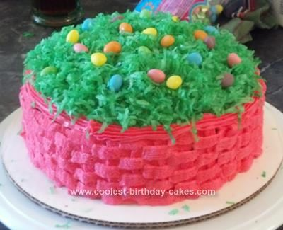 Pretty homemade pink easter basket cake homemade easter baskets homemade easter basket cake i made this easter basket cake for our familys easter egg negle Images