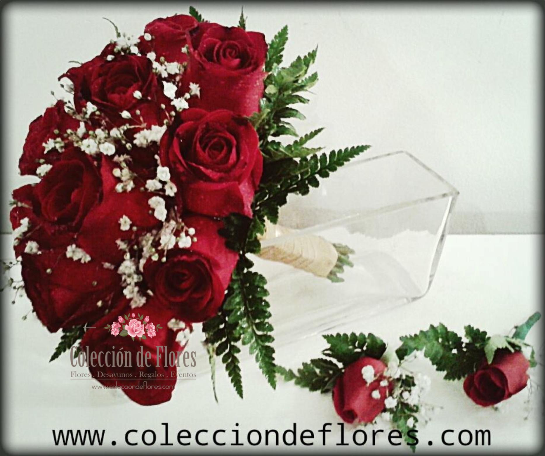 ramo de novia rosas rojas y de coleccin de flores tienda online