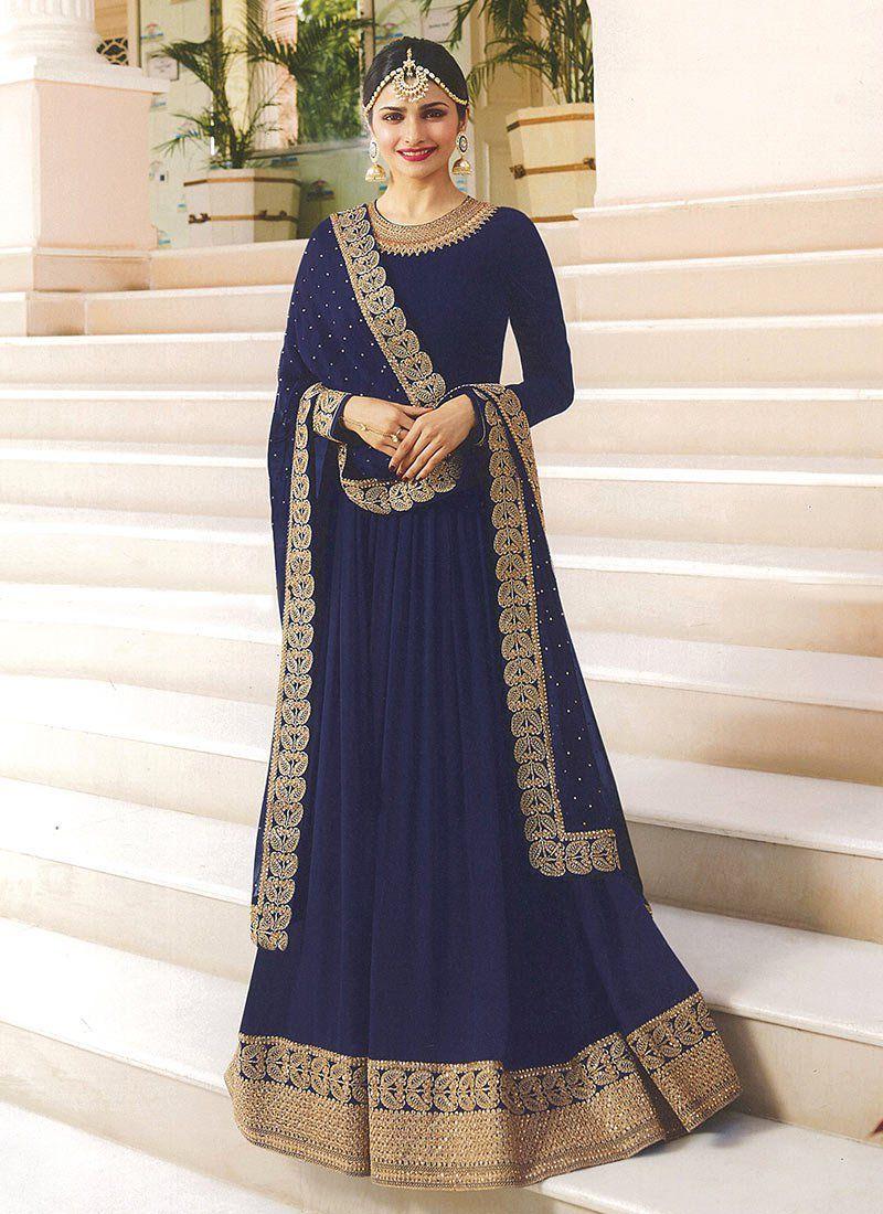 b612ebc4a1 Prachi Desai blue embroidered anarkali suit 7171 in 2019   Eid ...