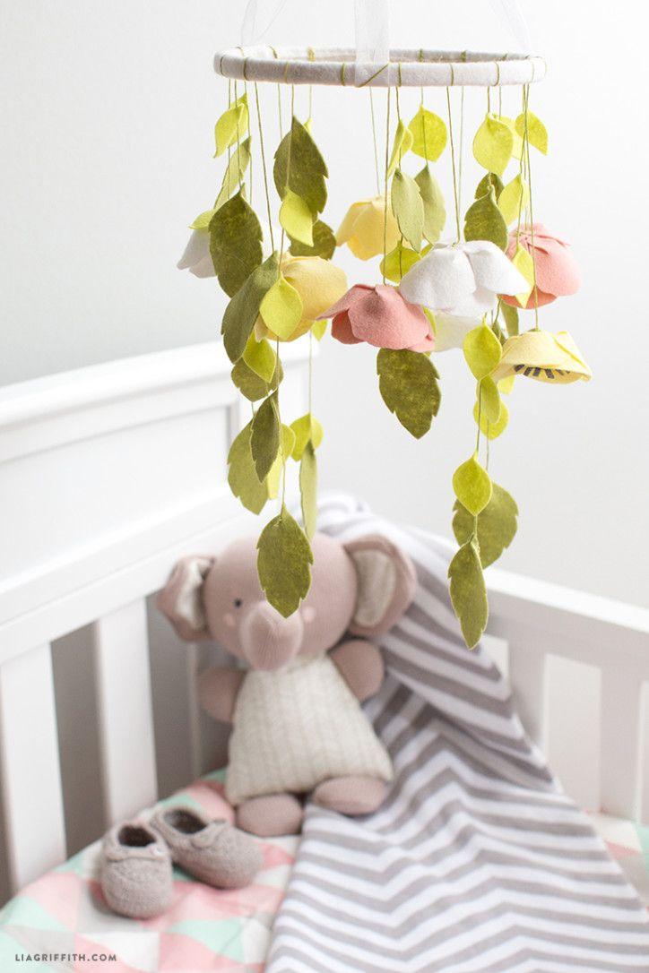 Felt Flower Baby Mobile Idées Pour Bébés, Fait Main, Feutrine, Mobile Enfant , af7dae17ad4