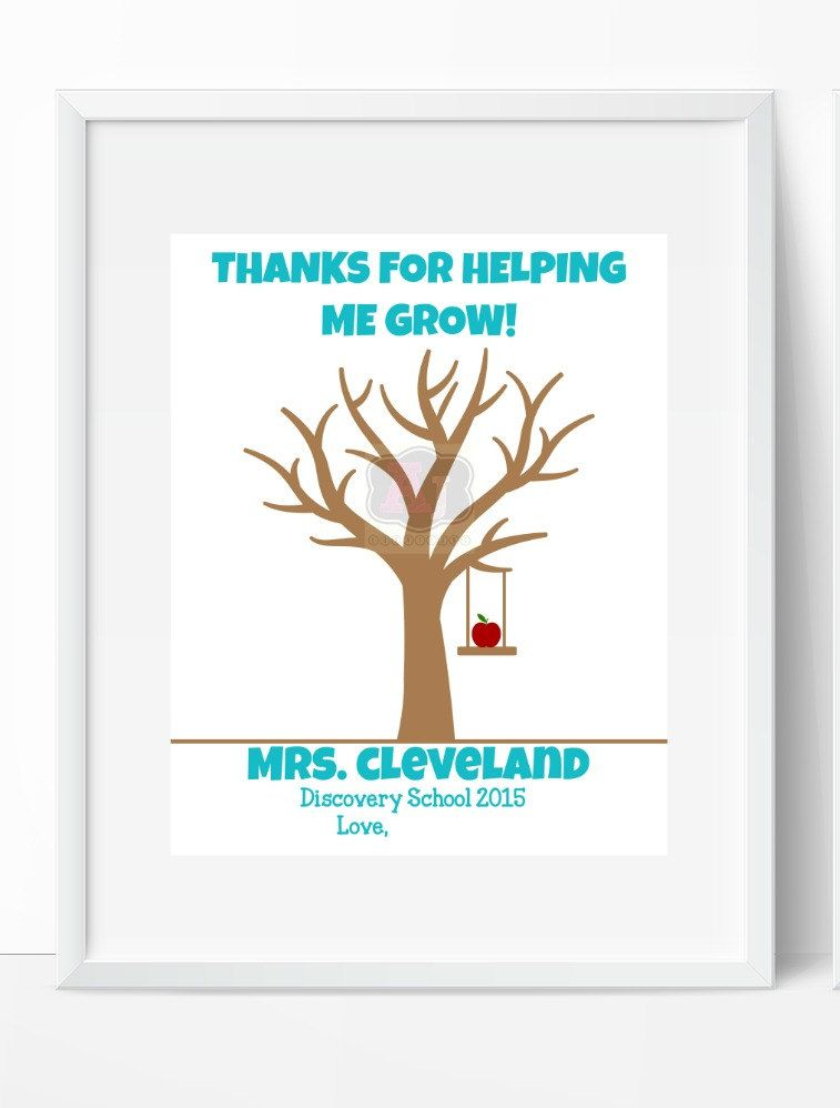 Personalized Teacher Gift - Teacher Appreciation Gift - Thank You Gift Thumbprint Tree - Christmas Gifts for Teachers - Gift for Teacher by AJCreations12 on Etsy