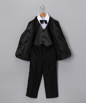 What a stud! Any little man will look all grown up and daringly debonair in this classic tux. Even if he's a little nervous to bear the rings, he'll feel cool and confident as he steps left, together, right, together down the aisle. Each item is easy to put on and comfy enough to wear throughout the day. It might take a little convincing at first, but the easy elastic bow tie will be a cinch to put on.