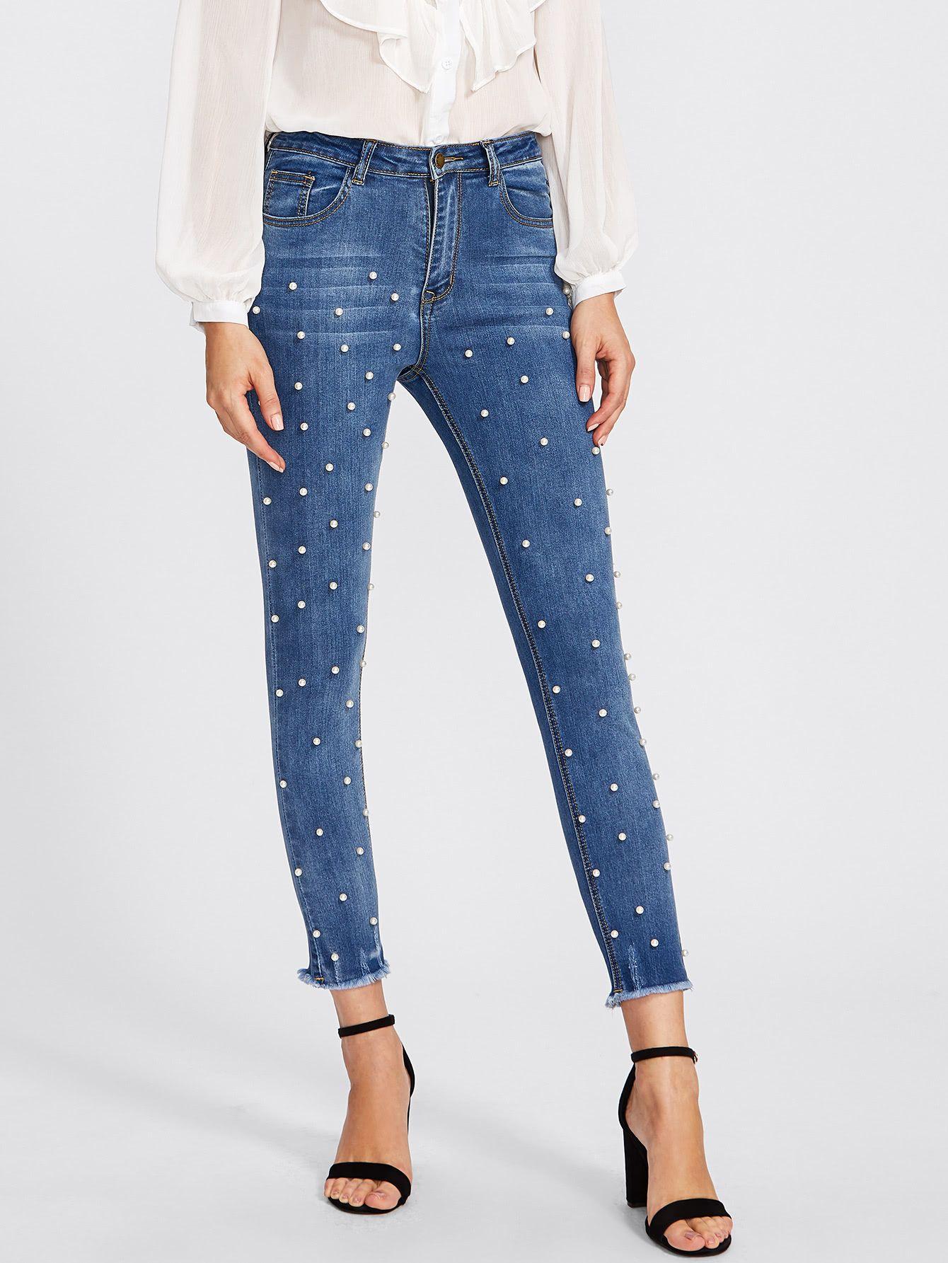7cb84d6ad Shop Pearl Beaded Frayed Hem Jeans online. SheIn offers Pearl Beaded Frayed  Hem Jeans &