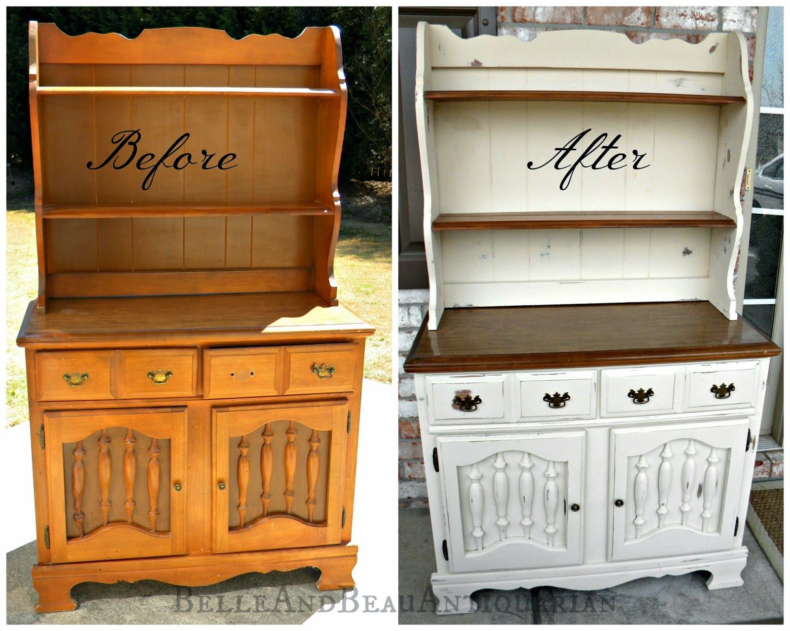 Before Amp After Painted Wood Hutch Painted Furniture