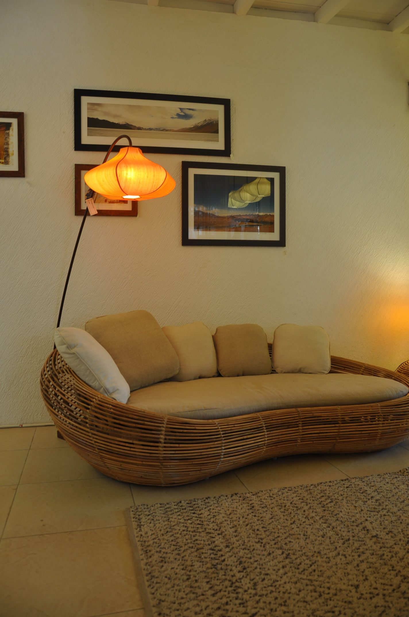 Rattan Pebble sofa with Izmir Floor Lamps