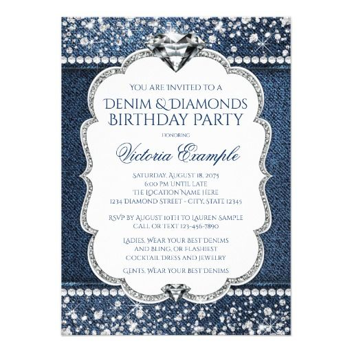 Denim and Diamond Bling Birthday Party Invitations Party - invitation to a party