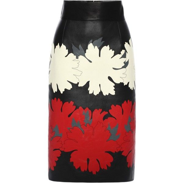 Alexander McQueen Flower Print Leather Pencil Skirt (5.500 BRL) ❤ liked on Polyvore featuring skirts, bottoms, alexander mcqueen, saias, flower print skirt, floral print pencil skirt, knee high skirts and leather pencil skirt
