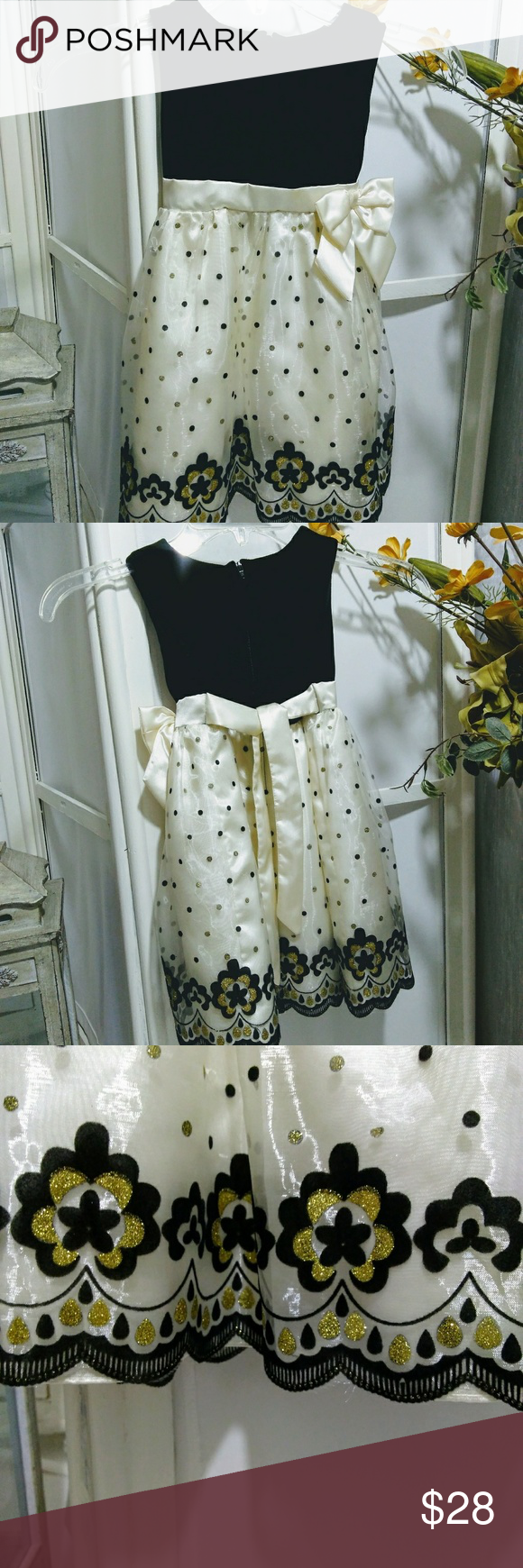 Mia Juliana Size 4t Cream Black Dress Gold Dots Gold Dress Black Dress Velvet Tops [ 1740 x 580 Pixel ]