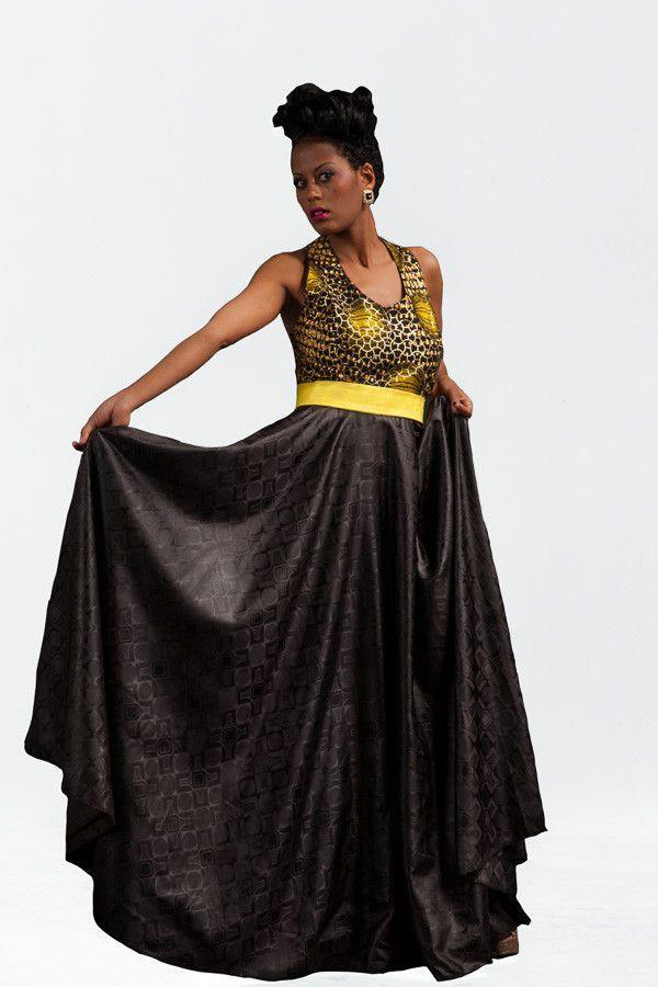 Yellow Bintou Evening Gown