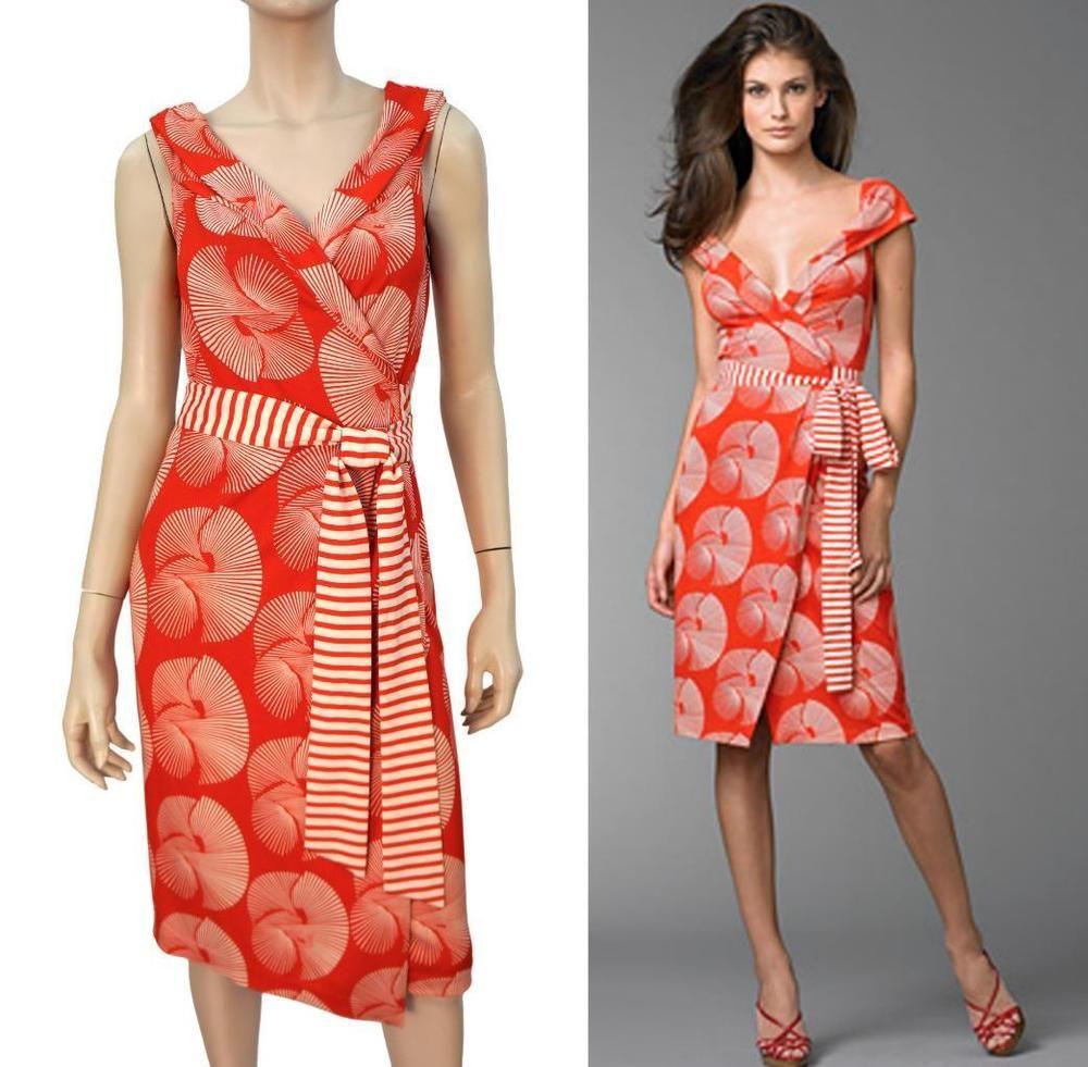 3cc3782494f DIANE VON FURSTENBERG Red White Sundial 'Fariba' Slvless Silk Wrap Dress 8 # DianevonFurstenberg #WrapDress #Anytime