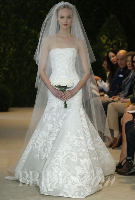 """Brides.com: Carolina Herrera - Spring 2014. """"Astrid"""" off-white strapless hand-painted lace on silk organza gown with cathedral tulle veil, Carolina Herrera"""