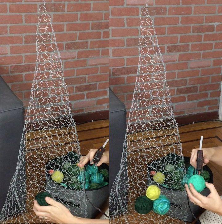 DIY Yarn Ball Ornament Tree in 2020 Diy christmas tree