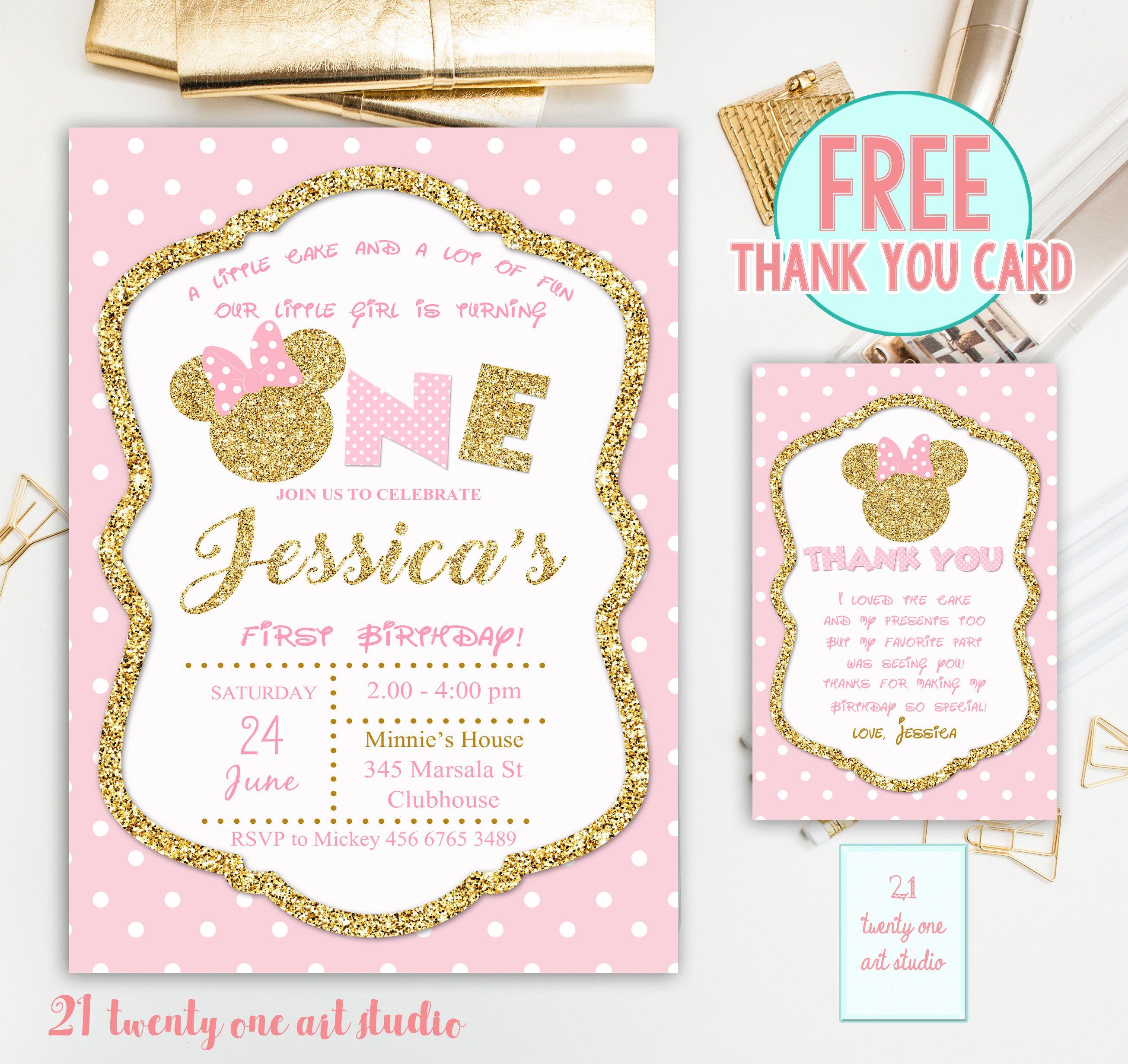 Minnie Inspired Invitation, Pink and Gold Birthday Invitation ...