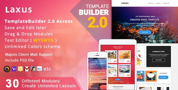Laxus - Responsive Email + MailBuild Online | Responsive email ...