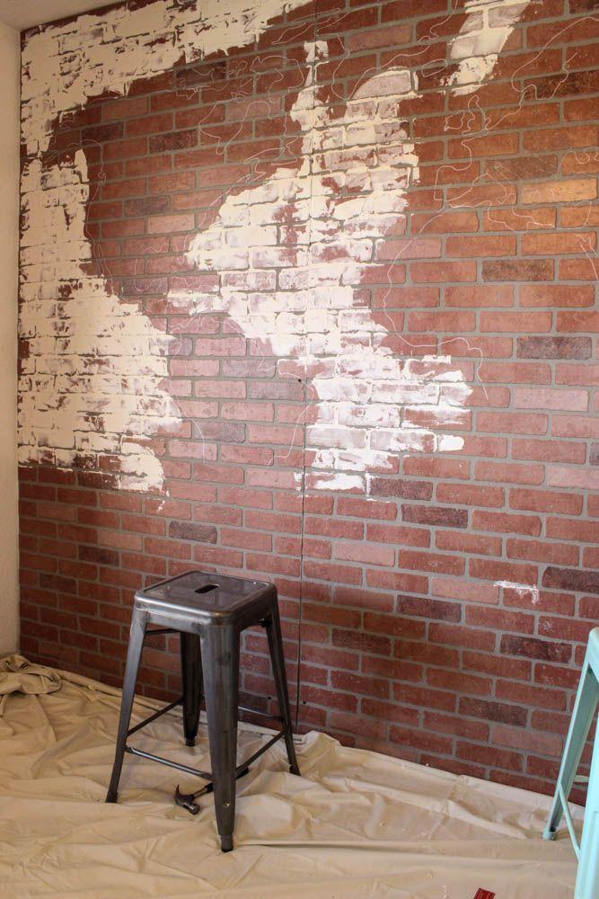 Amazing DIY Faux Brick Wall Map This