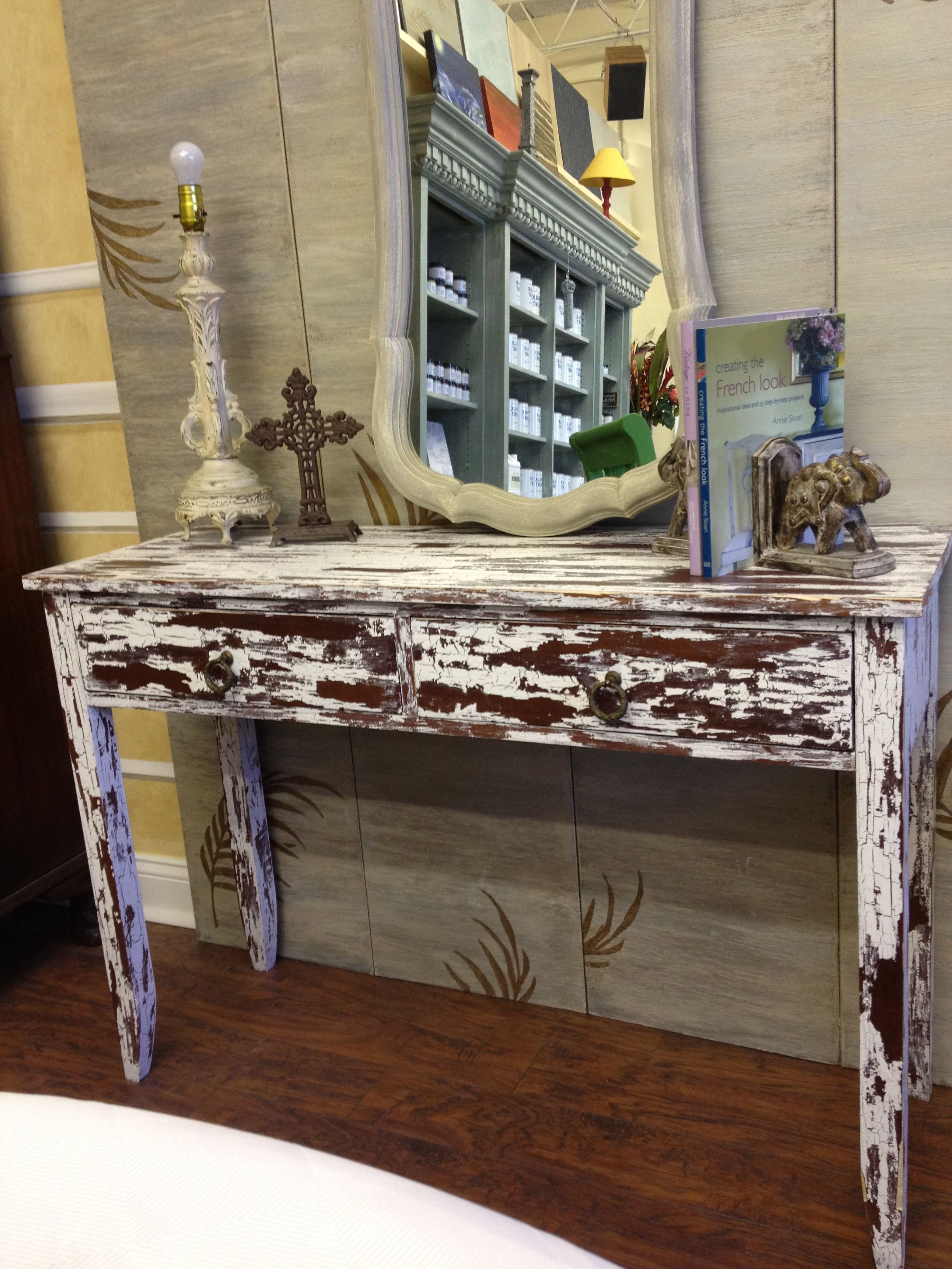 Sofa Console Table Painted With Chalk Paint In Pure White And Artisan Enhancements Crackle Tex Beautiful Painted Table Beautiful Furniture Painted Furniture