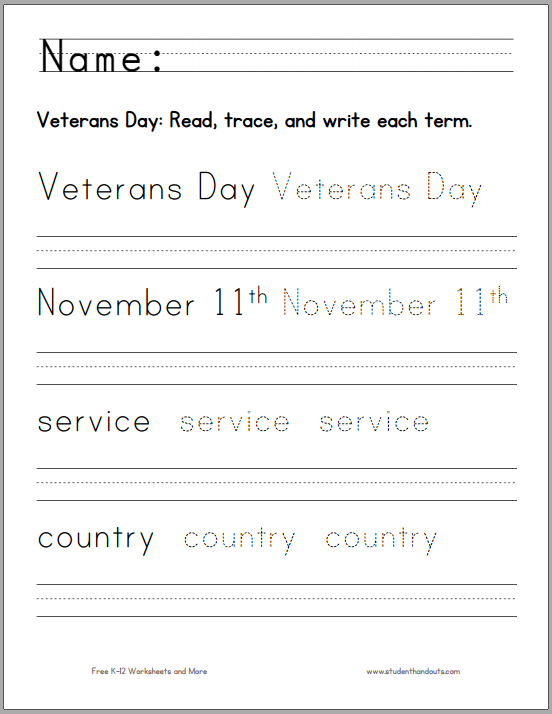 Printables Veterans Day Worksheets handwriting worksheets veterans day and on pinterest