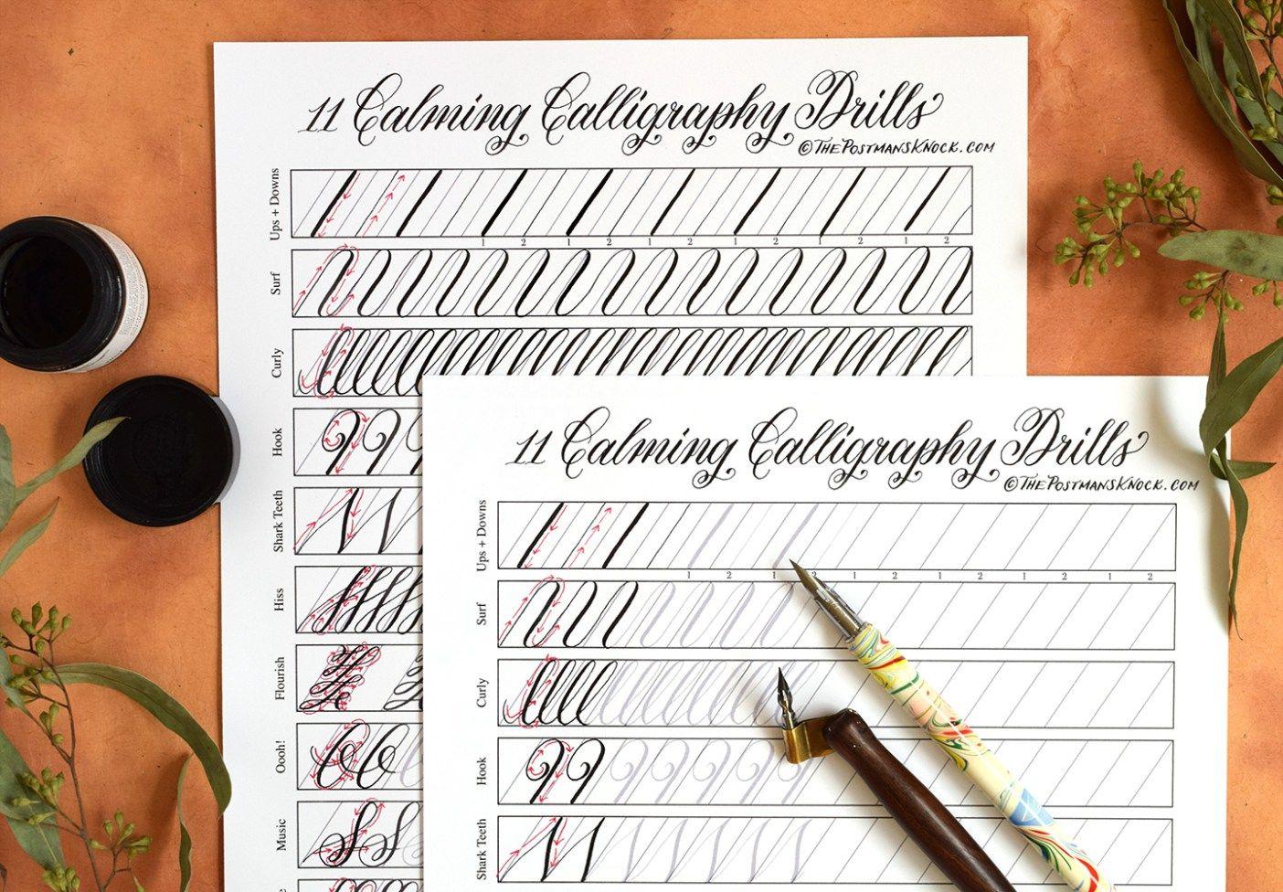 11 Calming Calligraphy Drills Printable Free Download