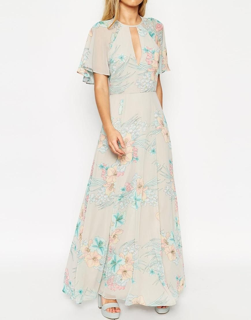 5123a341120 ASOS DESIGN vintage floral pleated maxi dress with flutter .