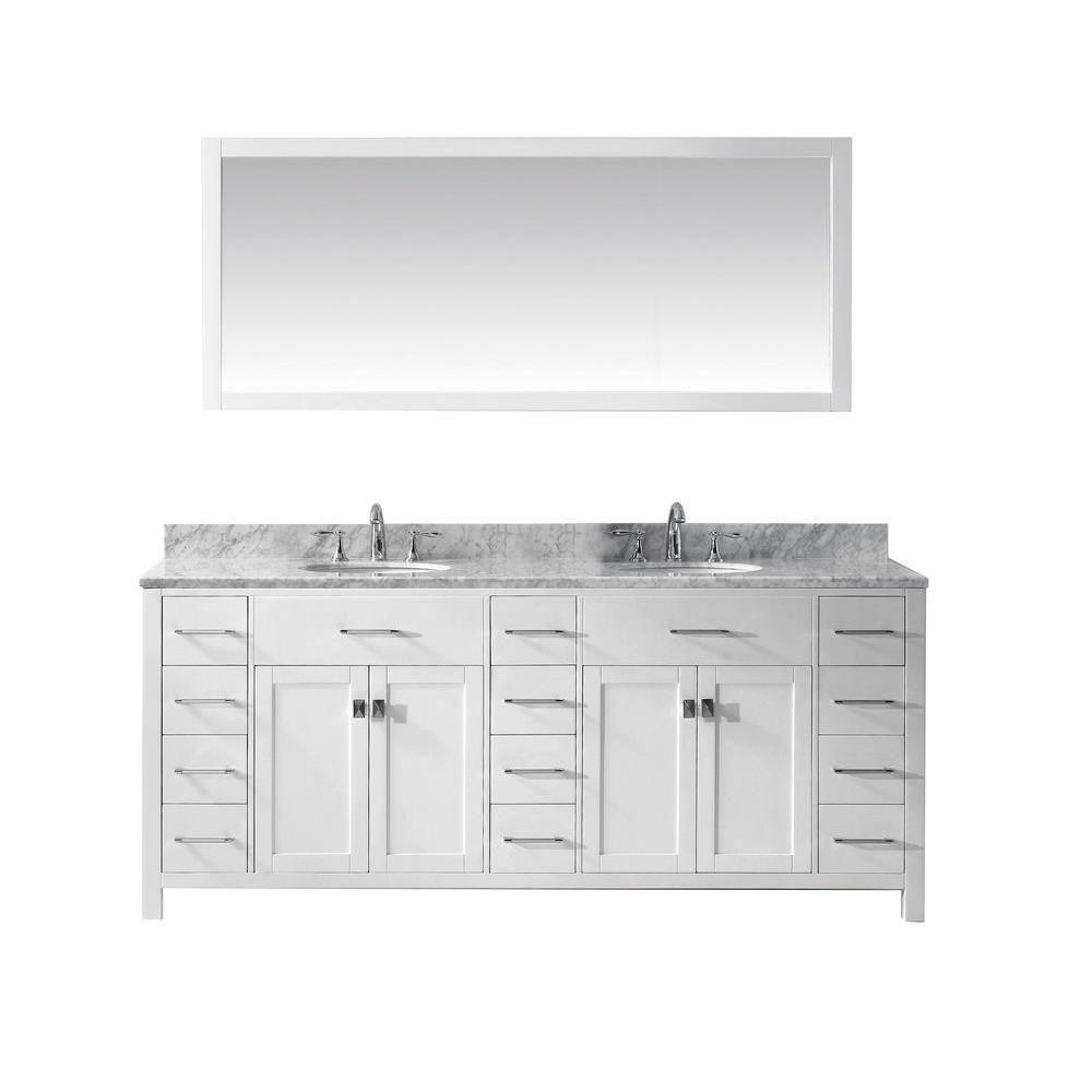 78 inch Transitional Bathroom Vanity White Finish Unit ...