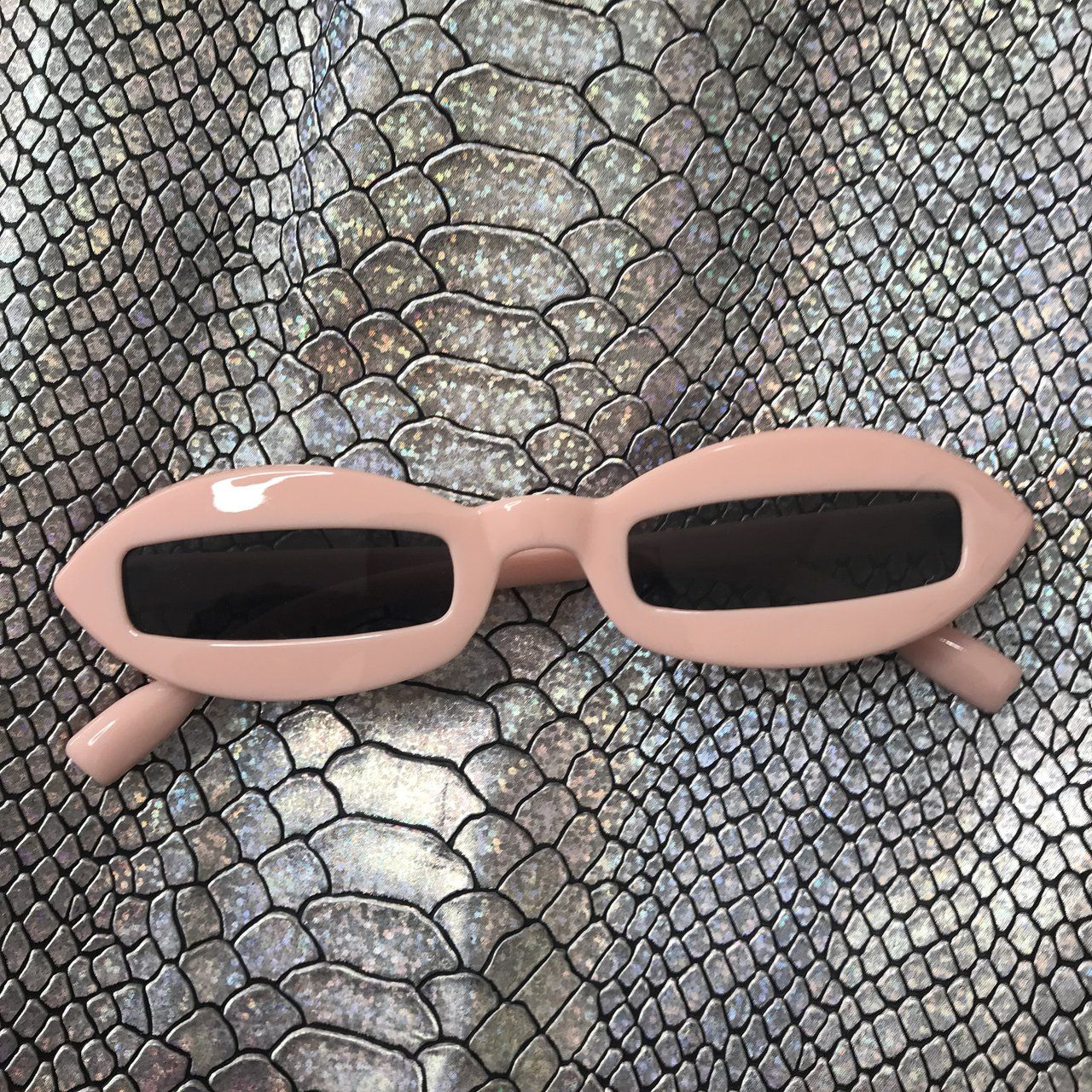 620eeadc43b I was given permission to post. og  Retro sunglasses! Baby Pink oblong  frames with narrow dark 2 - Depop