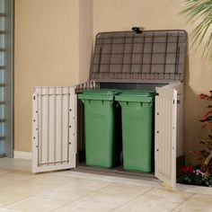 Keter® Woodland 30 Horizontal Storage Shed To Hide Trash Cans  Costco!!!