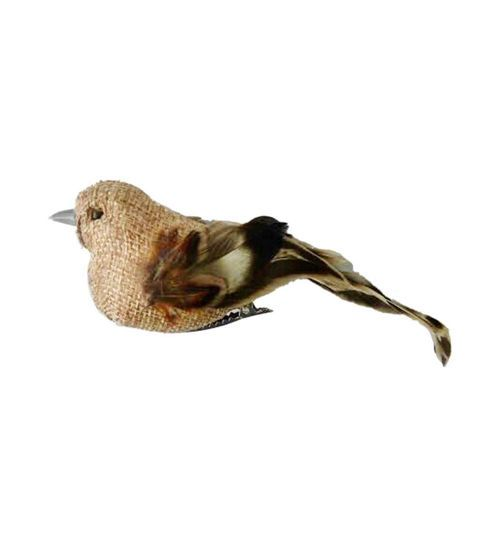 Blooming Autumn Feather Burlap Bird-Brown