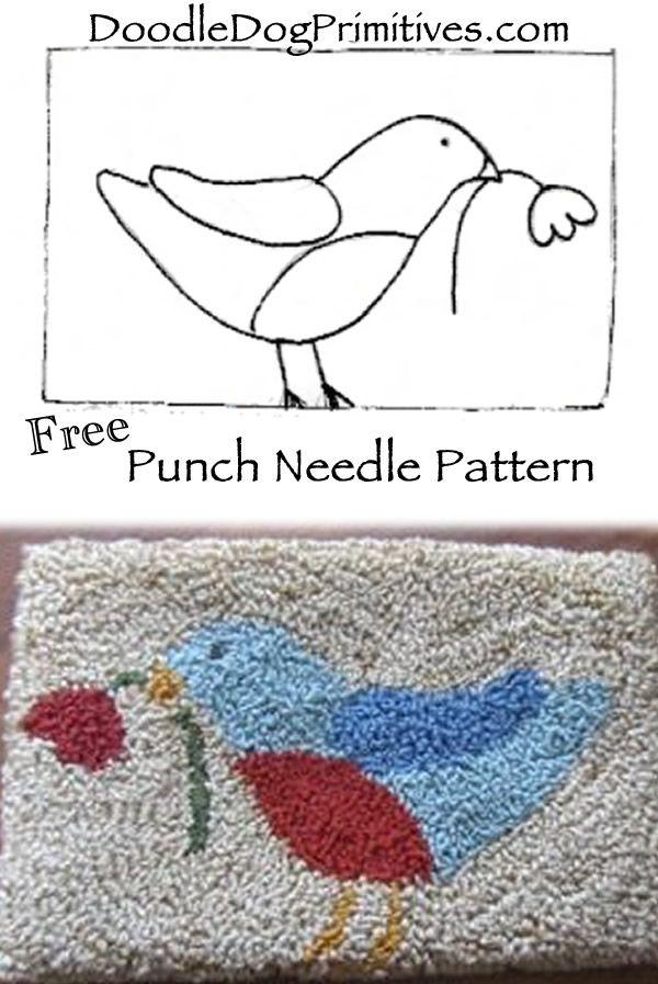 Blue Bird Needle Punch Free Pattern