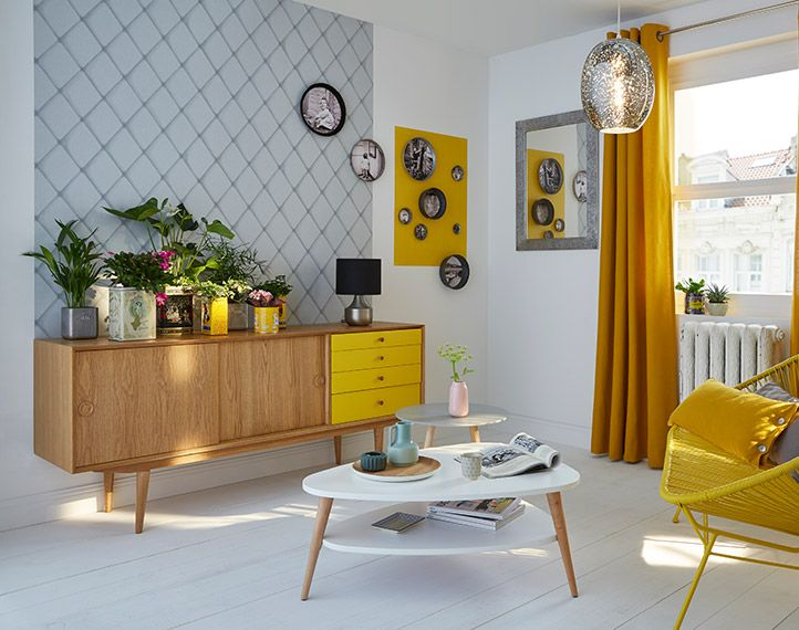 Inspiration d co soleil vintage all yellow living - Decoration interieur rideaux ...