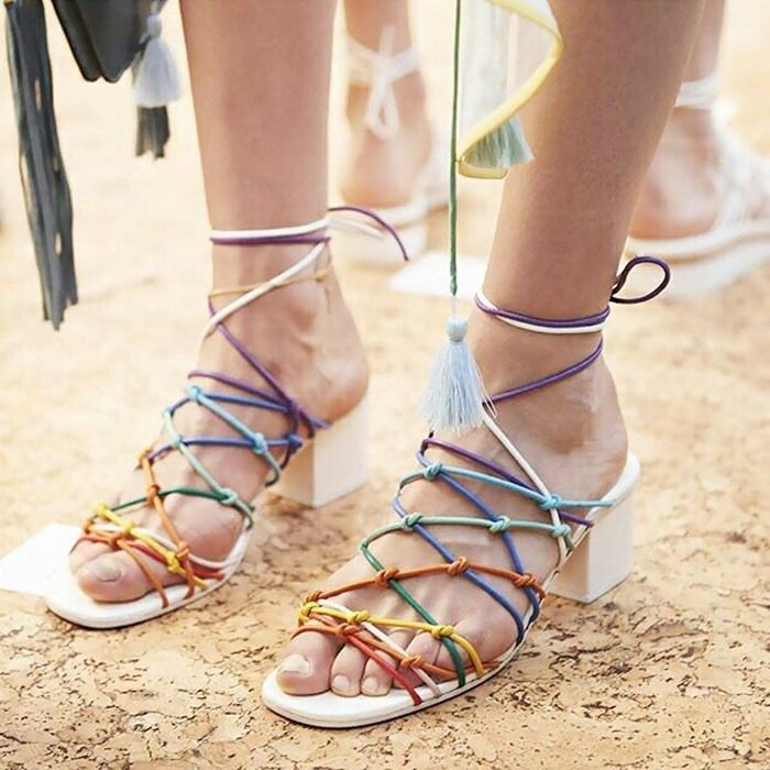8f5e1f5d5f05 Chloe Knotted Ankle-Wrap Rainbow Sandals