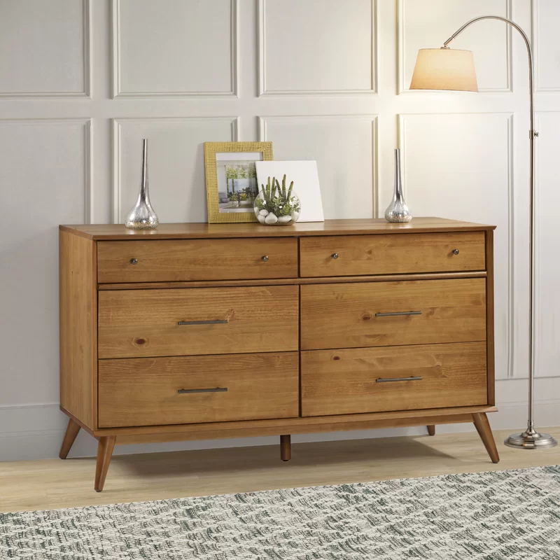Aliyah 6 Drawer Double Dresser In 2020 Mid Century Modern Bed Mid Century Modern Dresser Scandinavian Design Bedroom
