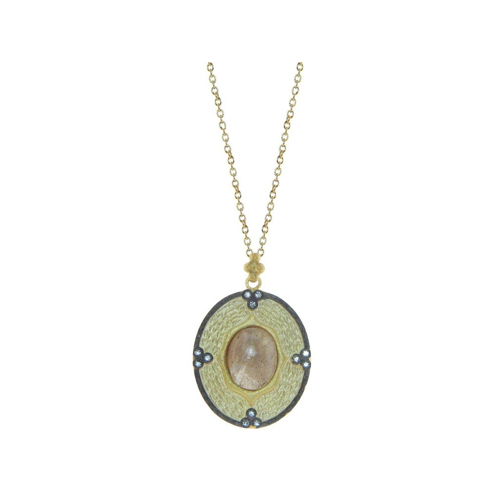 Athena labradorite oval pendant necklace in gold plated sterling