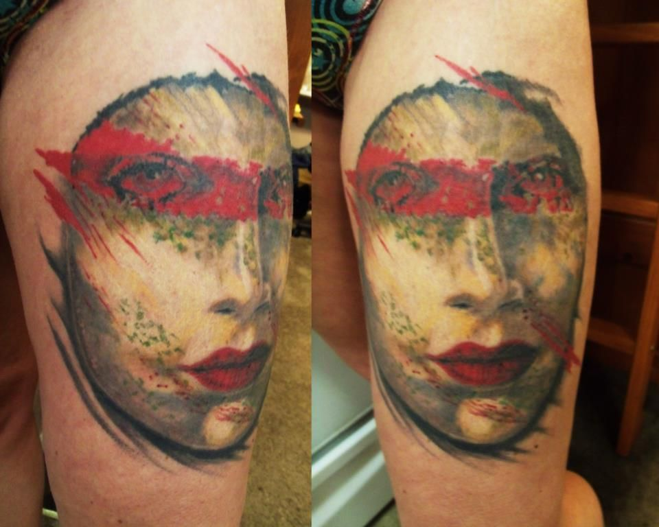 """caniglia, from the book, """"Gothic Art"""". Tattooed this on my sister Shana at the Ink Life Tour Convention '12 in Longview."""