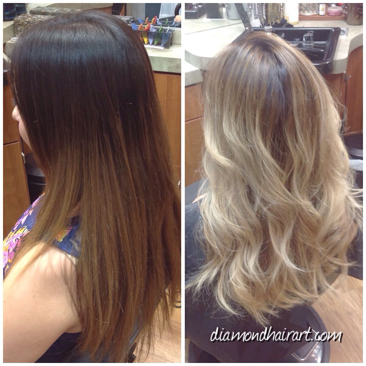 Before and after blonding using balayage techniques and olaplex