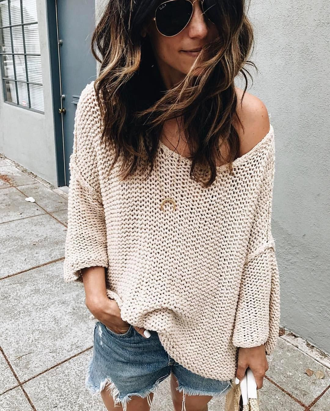 Loose, off the shoulder cream sweater and jean shorts | A Stylish ...