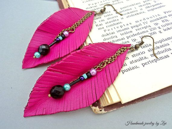 Hey, I found this really awesome Etsy listing at https://www.etsy.com/listing/249702746/leather-feathers-fuchsia-earrings-leaf