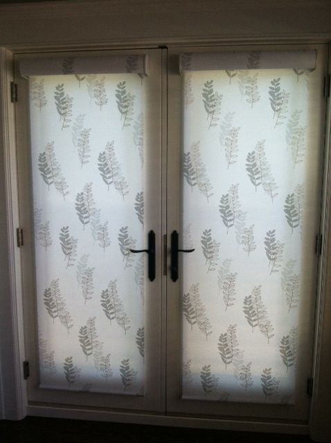 Designer Roller Shades On French Doors